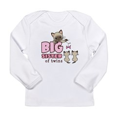 Big Sister of Twins (Kitty) Long Sleeve Infant T-Shirt