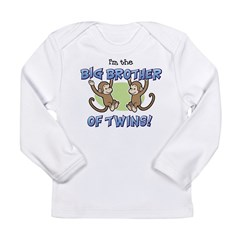 Big Brother of Twins (Monkey) Long Sleeve Infant T-Shirt