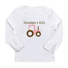 Grandpa's Girl - Pink Tractor Long Sleeve Infant T-Shirt