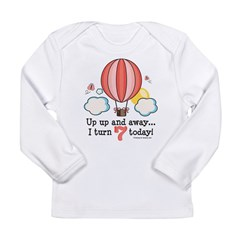 Seventh 7th Birthday Hot Air Balloon Long Sleeve Infant T-Shirt