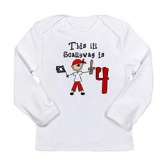 Stick Pirate 4th Birthday Long Sleeve Infant T-Shirt