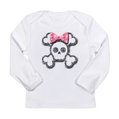 Girl Skull and Crossbones Pink Bow Long Sleeve Infant T-Shirt
