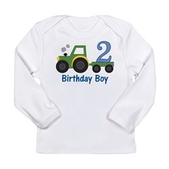 2nd Birthday Tractor Long Sleeve Infant T-Shirt