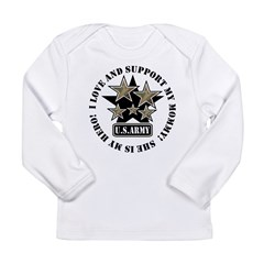 Kids Army Love Support Mommy Hero Infant Creeper Long Sleeve Infant T-Shirt