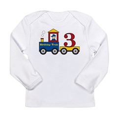 3 Year Old Birthday Train Long Sleeve Infant T-Shirt