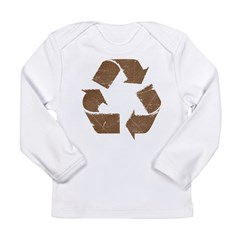 Vintage Brown Recycle Sign Long Sleeve Infant T-Shirt