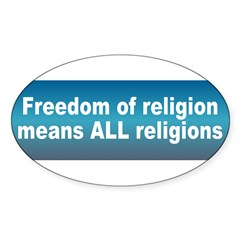 freedom religion... Sticker (Oval)