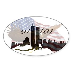 9/11/01 Rectangle Sticker (Oval)
