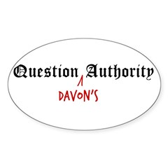 Question Davon Authority Sticker (Oval)