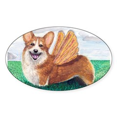 Corgi Rectangle Sticker (Oval)