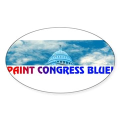 PAINT CONGRESS BLUE! Sticker (Oval)