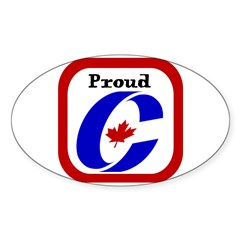 Proud Canadian Conservative Rectangle Sticker (Oval)