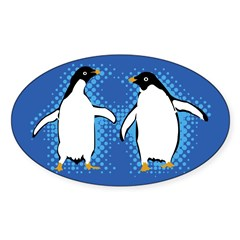 Dancing Penguins Rectangle Sticker (Oval)