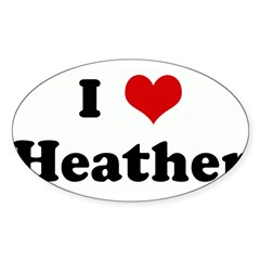 I Love Heather Sticker (Oval)