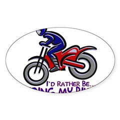 ...Riding My Bike... Rectangle Sticker (Oval)