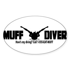 Muff Diving Sticker (Oval)