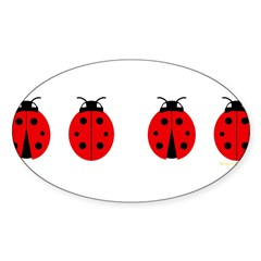 Ladybugs Rectangle Sticker (Oval)