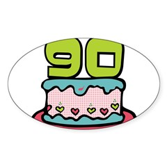 "90th Birthday Cake 3"" Lapel Sticker (48 pk) Sticker (Oval)"