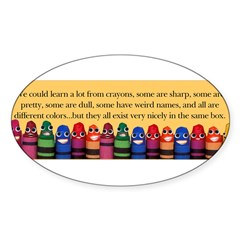 Peaceful Crayons Sticker (Oval)