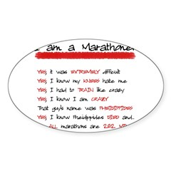 I am a Marathoner Rectangle Sticker (Oval)