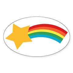Retro Shooting Star Rectangle Sticker (Oval)
