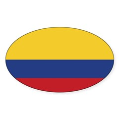 Flag of Colombia Rectangle Sticker (Oval)