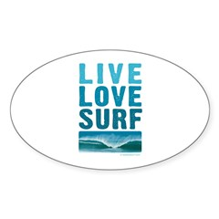 Live, Love, Surf - Rectangle Sticker (Oval)