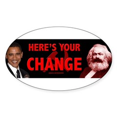 Obama and his mentor Karl Marx Sticker (Oval)