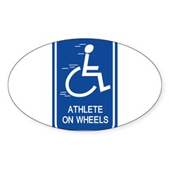 'Athlete on Wheels' Rectangle Sticker (Oval)
