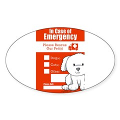 In Case of Emergency Rectangle Sticker (Oval)