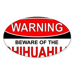 Beware Chi Rectangle Sticker (Oval)