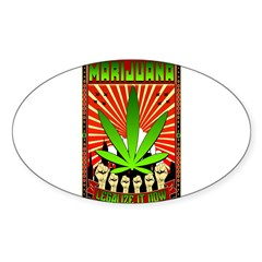 MARIJUANA PROPAGANDA ART Sticker (Oval)