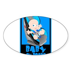 Baby Onboard - Blue Rectangle Sticker (Oval)