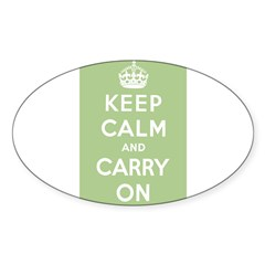 Sage Green Rectangle Sticker (Oval)