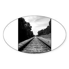 .railroad tracks. b&w Sticker (Oval)
