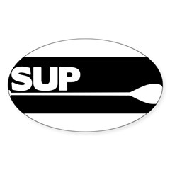 SUP Paddle black Sticker (Oval)