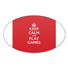 Keep Calm Play Game Sticker (Oval)