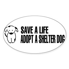 Adopt A Dog Sticker (Oval)