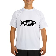 Evolve Fish Symbol Ash Grey Performance Dry T-Shirt
