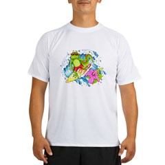 Surfing Gecko Lizard Performance Dry T-Shirt