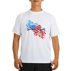 July 4th Heart Scroll Performance Dry T-Shirt