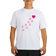 Pink Paw Prints To My Hear Performance Dry T-Shirt