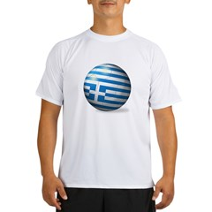 Greece Flag Soccer Ball Performance Dry T-Shirt