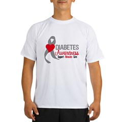 Diabetes Heart Ribbon Performance Dry T-Shirt