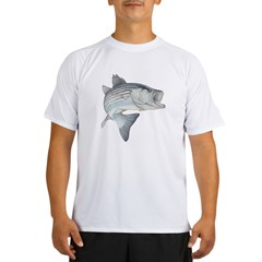 Lunker's Stripe Bass Ash Grey Performance Dry T-Shirt