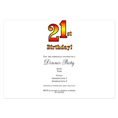 21st Birthday 3.5 x 5 Flat Cards