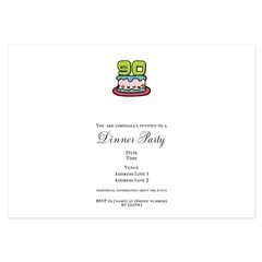 90th Birthday Cake 3.5 x 5 Flat Cards