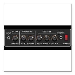 "Guitar Amp Vynal Square Car Magnet 3"" x 3"""