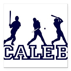 "Baseball Caleb Personalized Square Car Magnet 3"" x 3"""