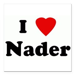 "I Love Nader Square Car Magnet 3"" x 3"""